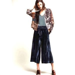 NWT! Hei Hei Anthropologie Velvet Wide Leg Pants